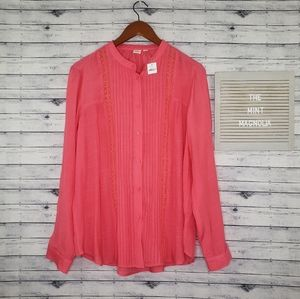 GAP Coral Pink Long Sleeve Button Down Blouse